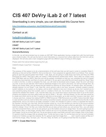 CIS 407 DeVry iLab 2 of 7 Latest