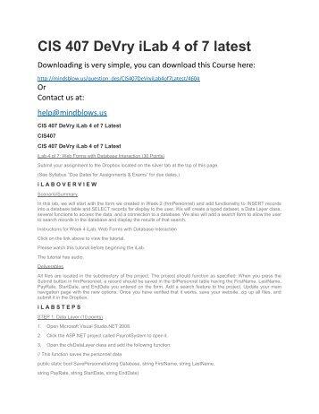 CIS 407 DeVry iLab 4 of 7 Latest