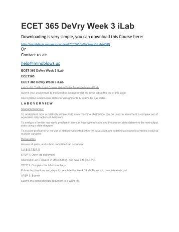 ECET 365 DeVry Week 3 iLab