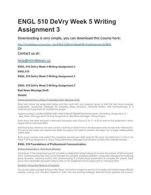 ENGL 510 DeVry Week 5 Writing Assignment 3