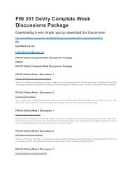 FIN 351 DeVry Complete Week Discussions Package