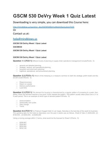 GSCM 530 DeVry Week 1 Quiz Latest