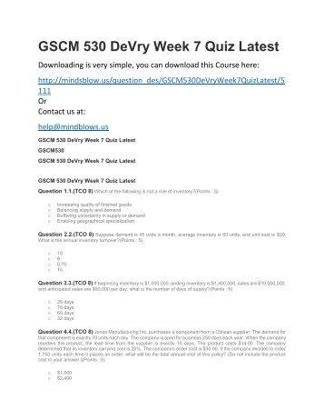 GSCM 530 DeVry Week 7 Quiz Latest