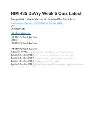 HIM 435 DeVry Week 5 Quiz Latest