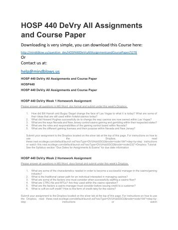 HOSP 440 DeVry All Assignments and Course Paper