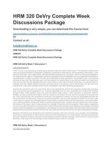 HRM 320 DeVry Complete Week Discussions Package