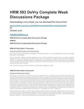 HRM 593 DeVry Complete Week Discussions Package