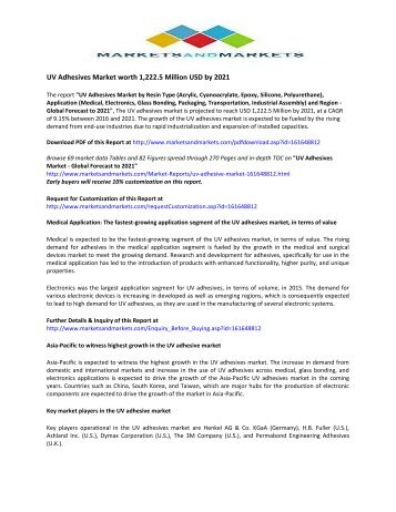 Global Trend & Forecast of UV Adhesives Market by 2021