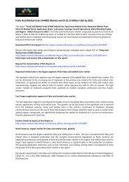 Global Trend & Forecast of Fatty Acid Methyl Ester (FAME) Market by 2021