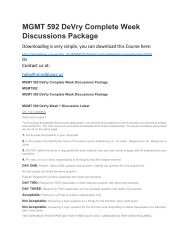 MGMT 592 DeVry Complete Week Discussions Package
