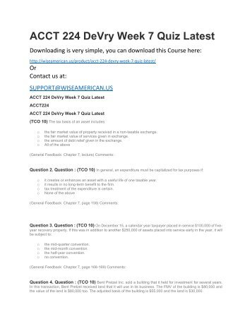 ACCT 224 DeVry Week 7 Quiz Latest