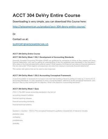 ACCT 304 DeVry Entire Course
