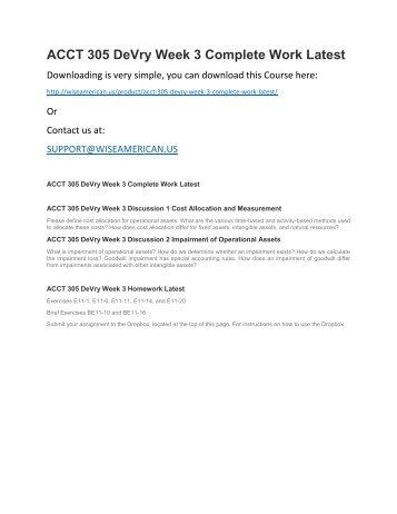 ACCT 305 DeVry Week 3 Complete Work Latest