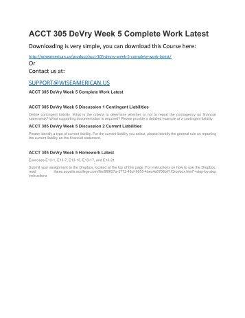 ACCT 305 DeVry Week 5 Complete Work Latest