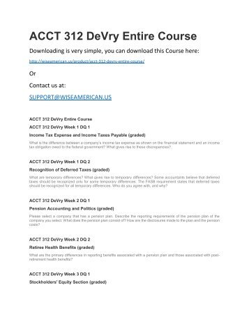 ACCT 312 DeVry Entire Course