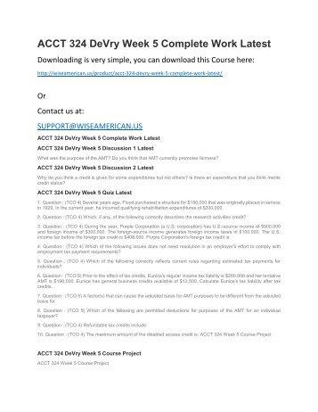 ACCT 324 DeVry Week 5 Complete Work Latest