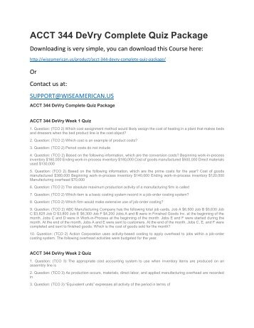 ACCT 344 DeVry Complete Quiz Package