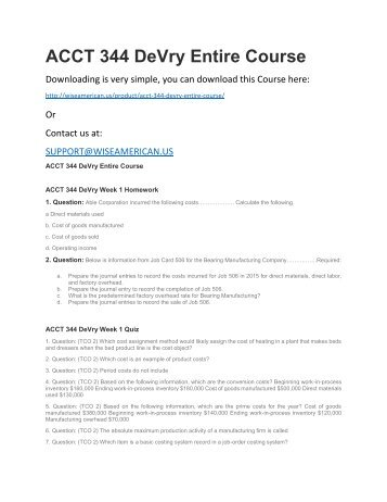 ACCT 344 DeVry Entire Course