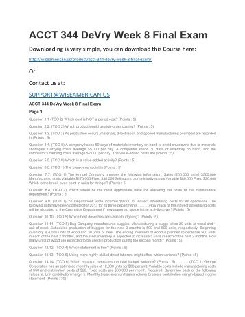 ACCT 344 DeVry Week 8 Final Exam