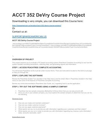 ACCT 352 DeVry Course Project