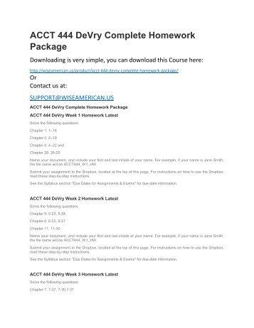 ACCT 444 DeVry Complete Homework Package
