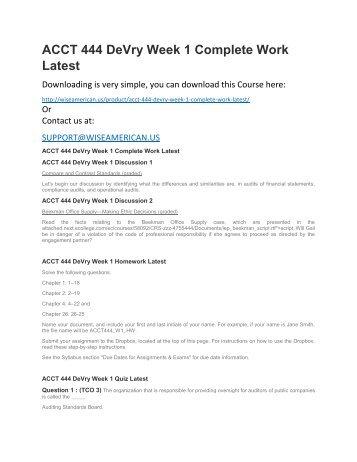 ACCT 444 DeVry Week 1 Complete Work Latest