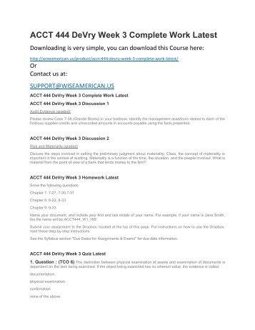 ACCT 444 DeVry Week 3 Complete Work Latest