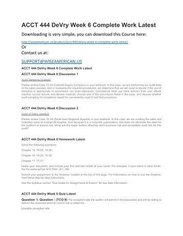 ACCT 444 DeVry Week 6 Complete Work Latest