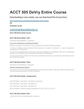 ACCT 505 DeVry Entire Course