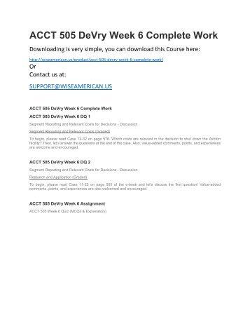 ACCT 505 DeVry Week 6 Complete Work
