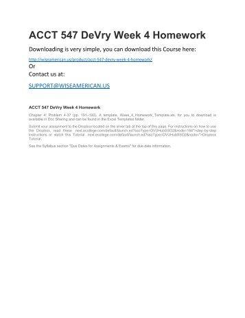 ACCT 547 DeVry Week 4 Homework