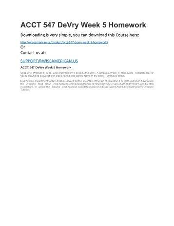 ACCT 547 DeVry Week 5 Homework
