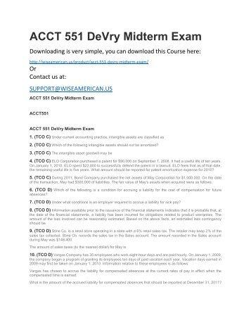 ACCT 551 DeVry Midterm Exam