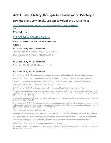 ACCT 555 DeVry Complete Homework Package
