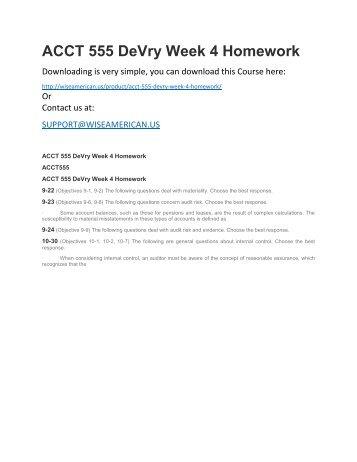 ACCT 555 DeVry Week 4 Homework