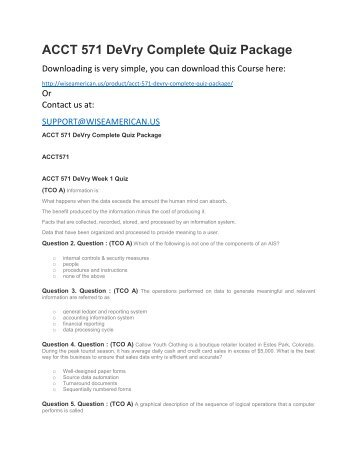 ACCT 571 DeVry Complete Quiz Package