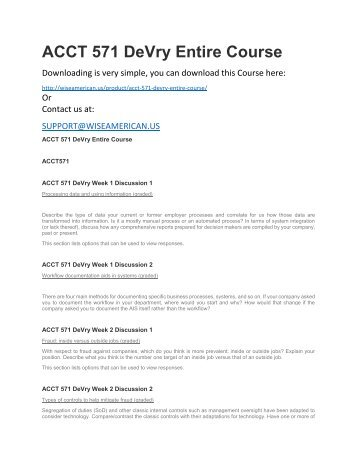 ACCT 571 DeVry Entire Course