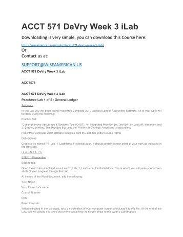 ACCT 571 DeVry Week 3 iLab