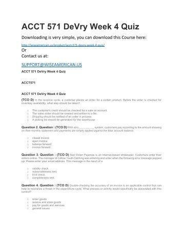 ACCT 571 DeVry Week 4 Quiz