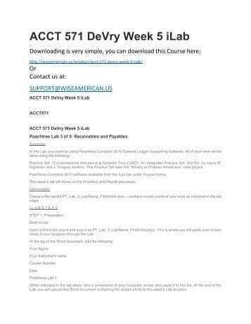 ACCT 571 DeVry Week 5 iLab