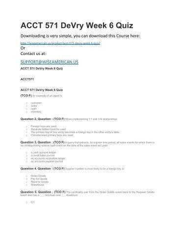 ACCT 571 DeVry Week 6 Quiz