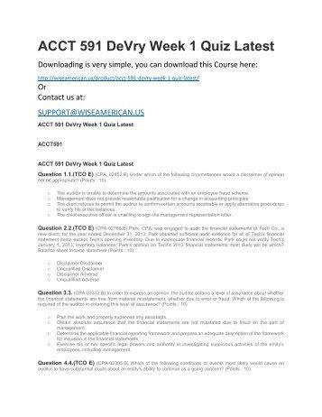 ACCT 591 DeVry Week 1 Quiz Latest