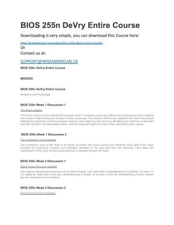 BIOS 255n DeVry Entire Course