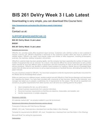 BIS 261 DeVry Week 3 I Lab Latest