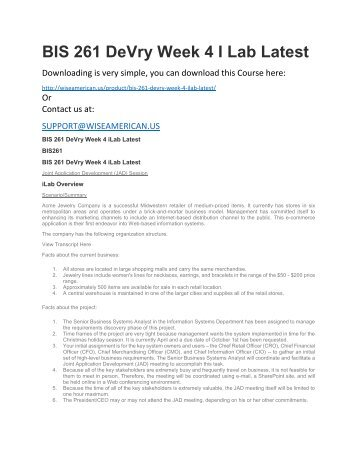 BIS 261 DeVry Week 4 I Lab Latest