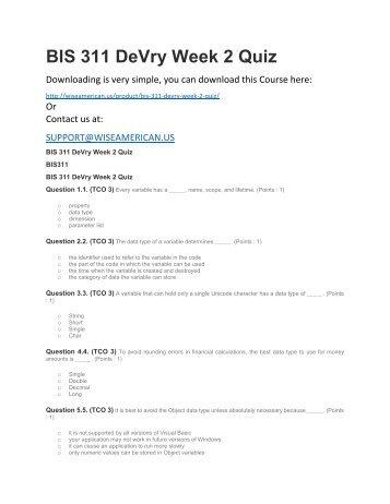 BIS 311 DeVry Week 2 Quiz