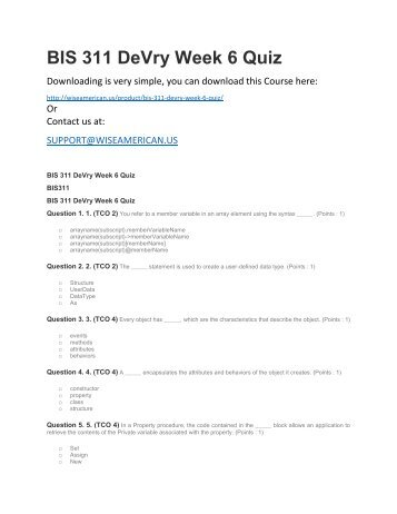 BIS 311 DeVry Week 6 Quiz