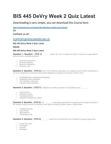 BIS 445 DeVry Week 2 Quiz Latest