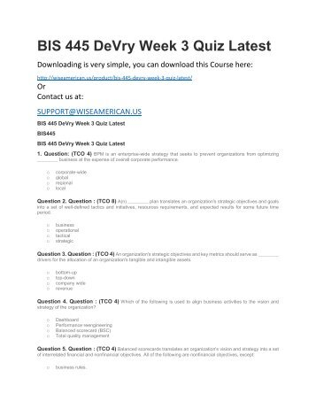 BIS 445 DeVry Week 3 Quiz Latest