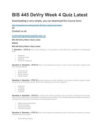 BIS 445 DeVry Week 4 Quiz Latest